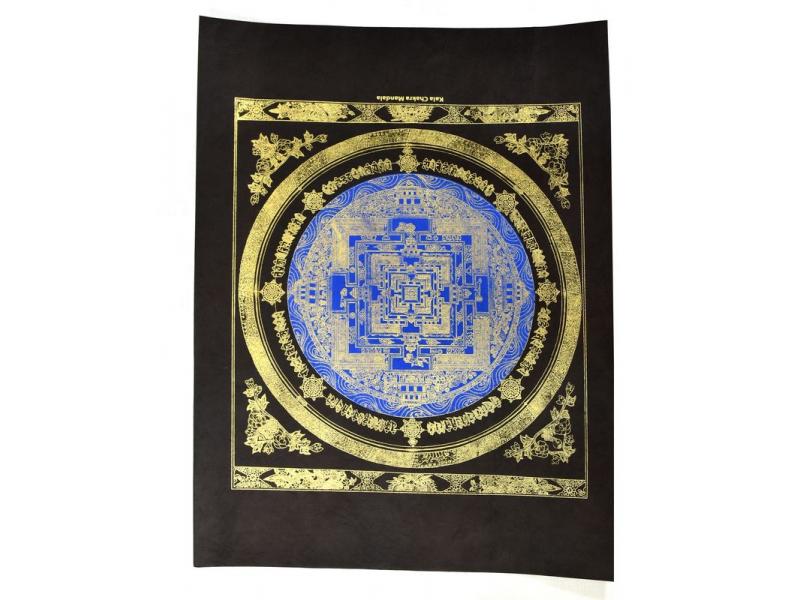 Kalačakra mandala modrá, zlatý tisk na černém ručním papíru, 47x36cm