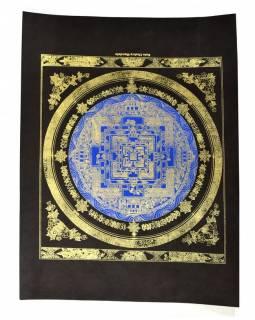 Kalačakra mandala, zlatý tisk na černém papíru, 47x36cm