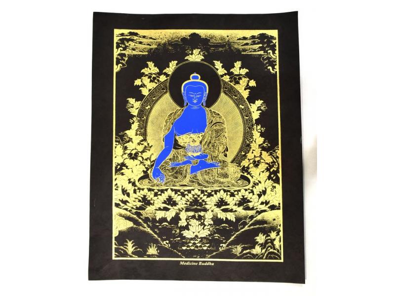 """Buddha léčitel, """"Medicine Buddha"""", zlatý tisk na ručním černém papíru, 47x36cm"""