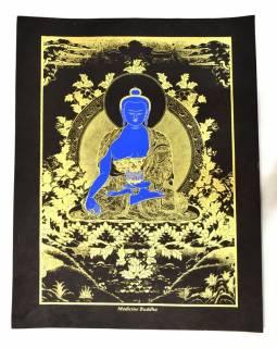 """Buddha léčitel, """"Medicine Buddha"""", zlatý tisk na černém papíru, 47x36cm"""