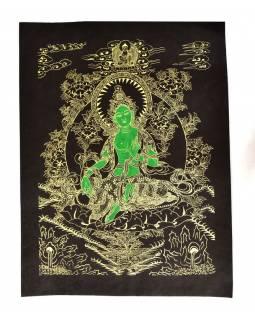 Zelená Tára, zlatý tisk na černém papíru, 47x36cm