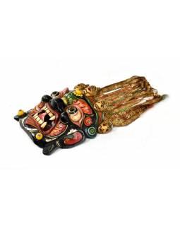 Bhairab, dřevěná maska, ručně malovaná, zdobená polodrahokamy, 37x33cm