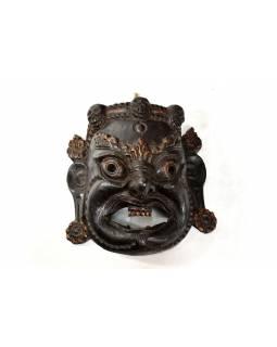 Bhairab, dřevěná maska, černá, ruční práce, 30x30cm