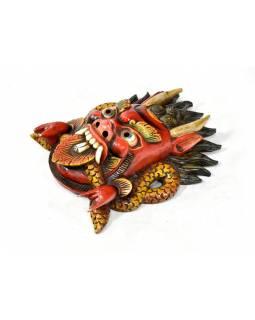 Cheppu, dřevěná maska, ručně malovaná, červená, 34x25cm