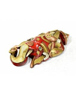Ganeš, dřevěná maska, ručně malovaná, zdobená mosazným kováním, 31x15cm