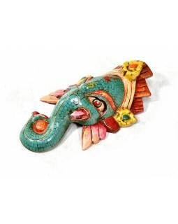 Ganeš, dřevěná maska, ručně malovaná, zdobená polodrahokamy, 24x13cm