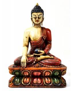 Buddha Šákjamuni, dřevěná ručně malovaná, 29cm