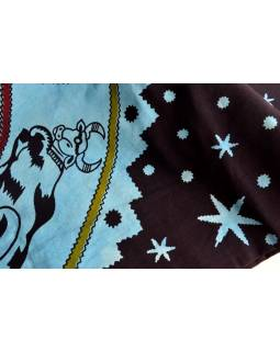 "Přehoz, ""Zodiac"" modrý, batika, double, 210x240cm"