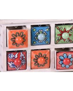 Skříňka s 8 keramickými šuplíky, ručně malovaná, dřevo, 31x10x18cm