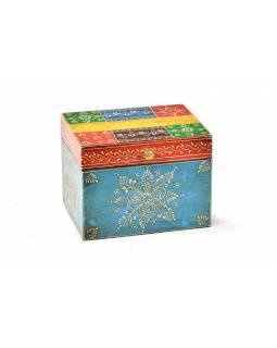 Ručně malovaná dřevěná truhlička, multibarevná, 20x15x15cm