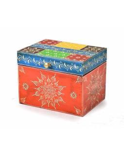Ručně malovaná dřevěná truhlička, oranžová, 20x15x15cm