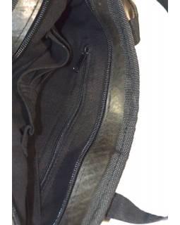 """Taška přes rameno, """"Tata"""", černá, guma a konopí, dvě uši, 37x25cm"""
