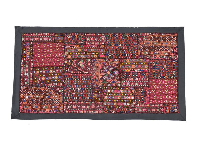 Patchworková tapiserie z Rajastanu, ruční práce, 80x45 cm