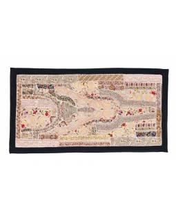 Unikátní tapiserie patchworková z Rajastanu, ruční práce, 80x45 cm