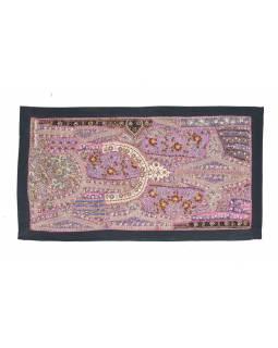 Bohatě zdobená patchworková tapiserie z Rajastanu, ruční práce, 80x45 cm