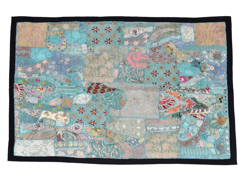Unikátní patchworková tapiserie z Rajastanu, ruční práce, 105x150 cm