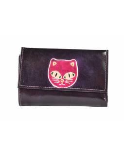 Peněženka, tmavě fialová malovaná kůže, kočka, 10x15cm