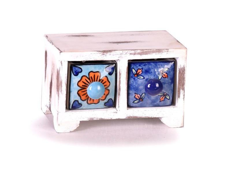 Skříňka se 2 keramickými šuplíky, bílá patina, dřevo, 15x9x9cm