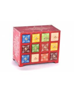 Dřevěná skříňka s 12 šuplíky, ručně malovaná, červená, 25x14x21cm