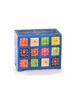 Dřevěná skříňka s 12 šuplíky, ručně malovaná, modrá, 25x14x21cm