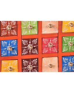 Dřevěná skříňka s 12 šuplíky, ručně malovaná, oranžová, 25x14x21cm