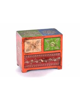 Dřevěná skříňka se 3 šuplíky, ručně malovaná, oranžová, 20x12x18cm