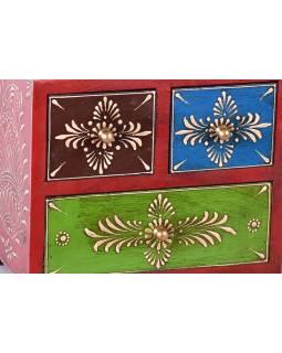 Dřevěná skříňka se 3 šuplíky, ručně malovaná, červená, 20x12x18cm