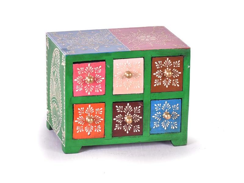 Dřevěná skříňka s 6 šuplíky, ručně malovaná, modrá, 19x14x15cm