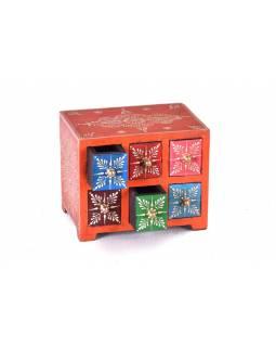 Dřevěná skříňka s 6 šuplíky, ručně malovaná, oranžová, 19x14x15cm