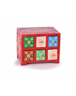 Dřevěná skříňka s 6 šuplíky, ručně malovaná, červená, 19x14x15cm