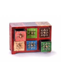 Dřevěná skříňka s 6 šuplíky, ručně malovaná, červená, 25x10x18cm