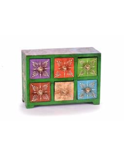 Dřevěná skříňka s 6 šuplíky, ručně malovaná, zelená, 25x10x18cm