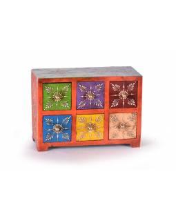 Dřevěná skříňka s 6 šuplíky, ručně malovaná, orsnžová, 25x10x18cm