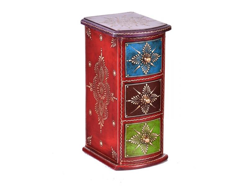 Dřevěná skříňka s 3 šuplíky, ručně malovaná, červená, 13x15x28cm