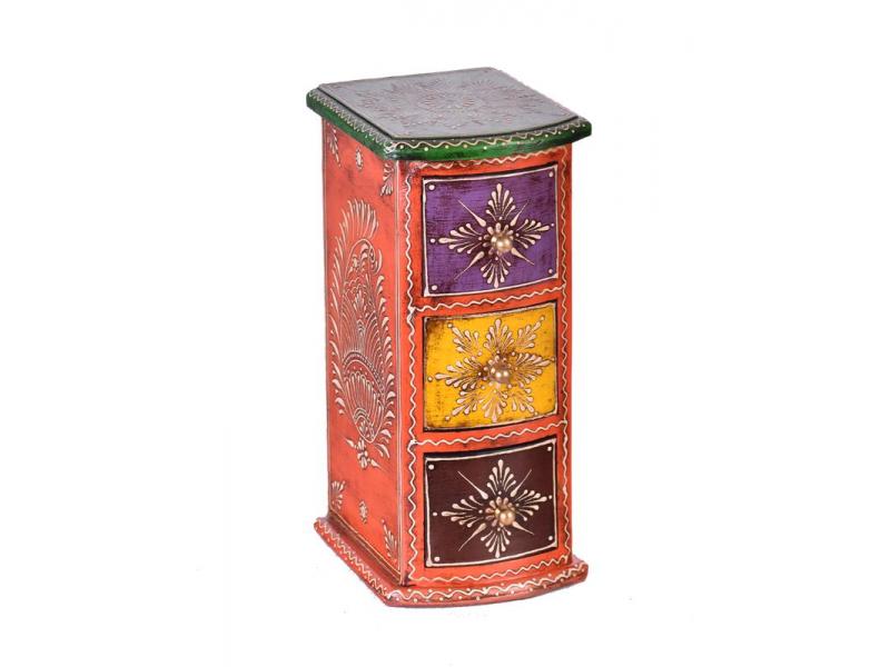 Dřevěná skříňka s 3 šuplíky, ručně malovaná, oranžová, 13x15x28cm