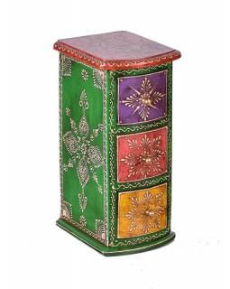 Dřevěná skříňka s 3 šuplíky, ručně malovaná, zelená, 13x15x28cm