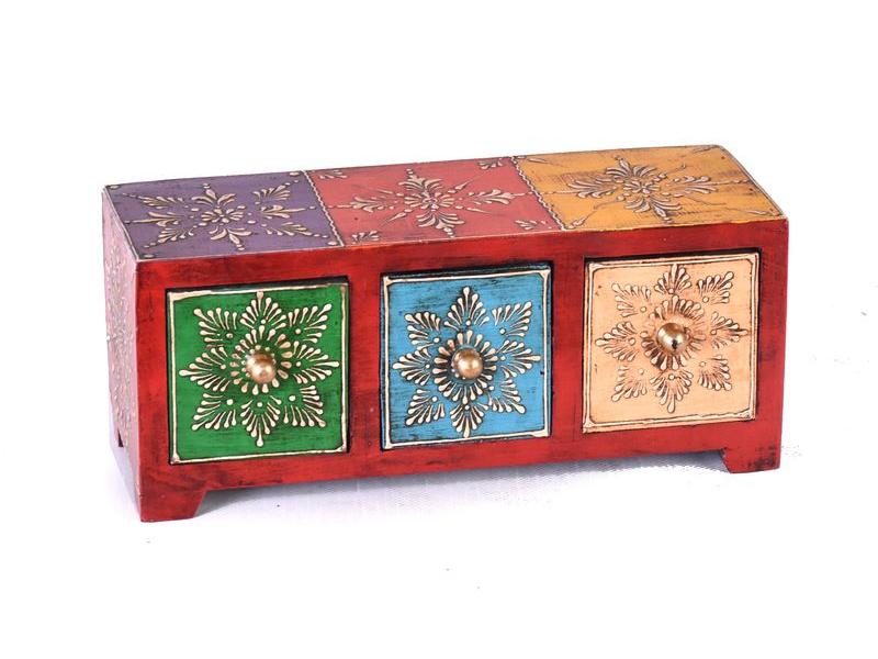 Dřevěná skříňka s 3 šuplíky, ručně malovaná, červená, 25x10x10cm