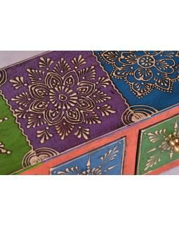 Dřevěná skříňka s 3 šuplíky, ručně malovaná, oranžová, 25x10x10cm