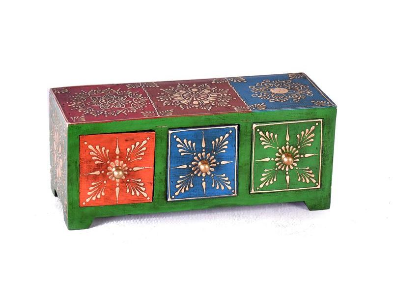 Dřevěná skříňka s 3 šuplíky, ručně malovaná, zelená, 25x10x10cm