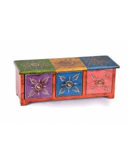 Dřevěná skříňka s 3 šuplíky, ručně malovaná, oranžová, 35x12x12cm
