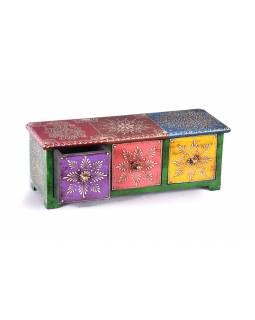 Dřevěná skříňka s 3 šuplíky, ručně malovaná, zelená, 35x12x12cm