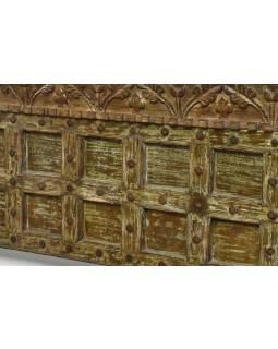 Postel vyrobená ze starých vrat a sloupů, antik teak, 205x230x164cm