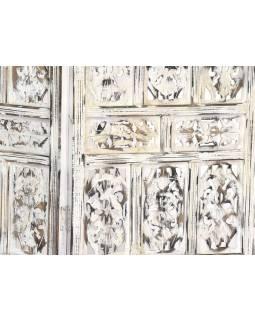 Paravan, bílý antik, vyřezávný, mango, 4 pole, 201x2,5x181cm