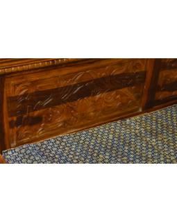 Postel z palisandrového dřeva, ručně vyřezávaná, 194x216x89cm
