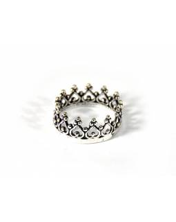 Postříbřený prsten s jemným zdobením, (10µm)