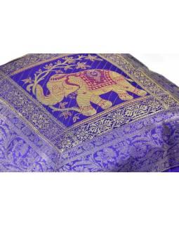 Fialový povlak na polštář, dva sloni, bohatá zlatá výšivka, 40x40cm