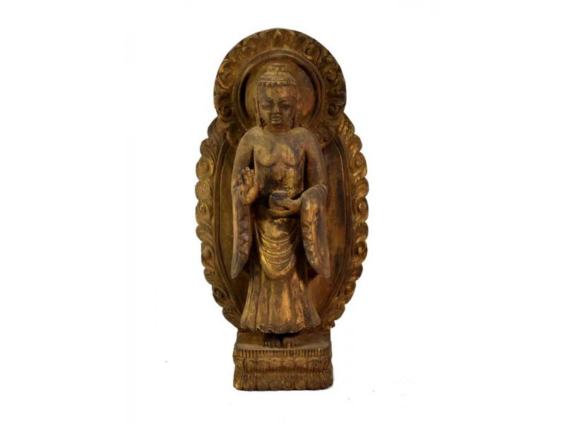 Buddha Maitreya, dřevěná socha, ruční práce, antik úprava, 34cm