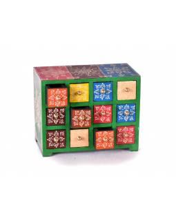 Dřevěná skříňka s 12 šuplíky, ručně malovaná, zelená, 25x14x21cm