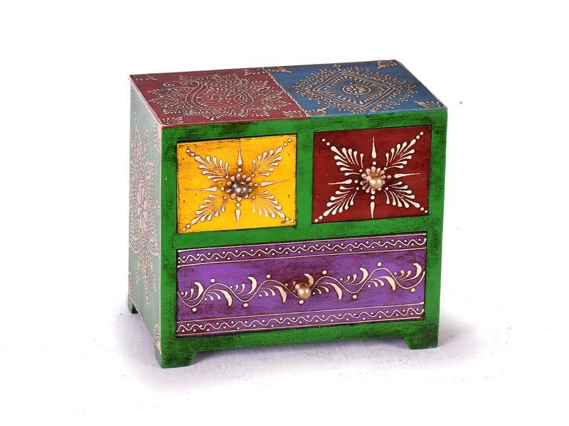 Dřevěná skříňka se 3 šuplíky, ručně malovaná, zelená, 20x12x18cm