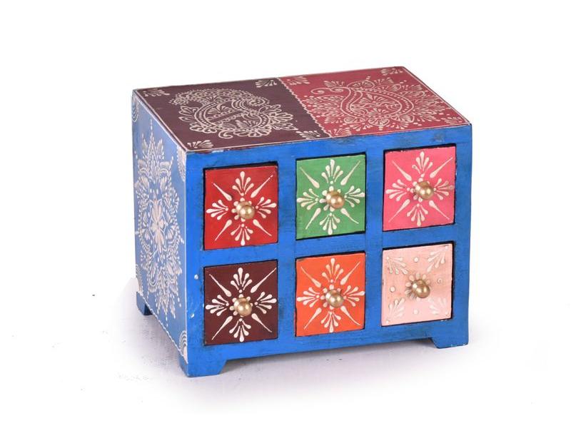 Dřevěná skříňka s 6 šuplíky, ručně malovaná, zelená, 19x14x15cm